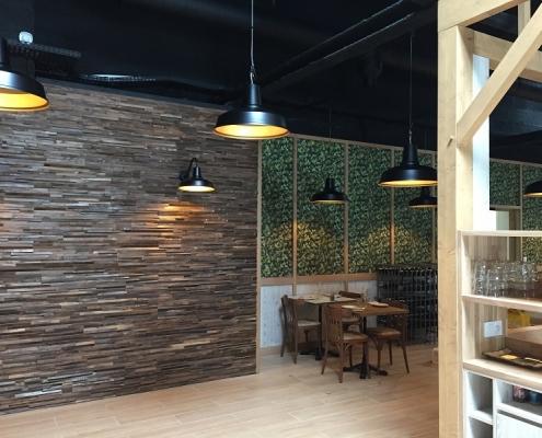 Pose papier peint habillage mural restaurant